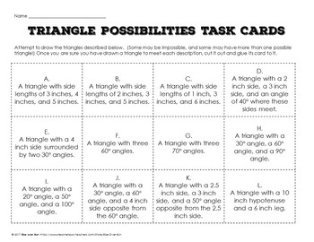Drawing Triangles with Given Conditions Task Card Activity