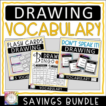 Drawing Vocabulary Flash Cards, BINGO Game and DON'T SPEAK IT! Savings Bundle