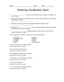 Drawing Vocabulary Quiz