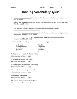 Drawing Vocabulary Quiz