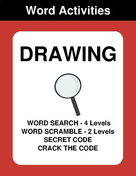 Drawing - Word Search, Word Scramble,  Secret Code,  Crack the Code