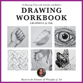 Drawing Workbook for Beginners, Graphite & Ink - 10 Units-Homeschool Art