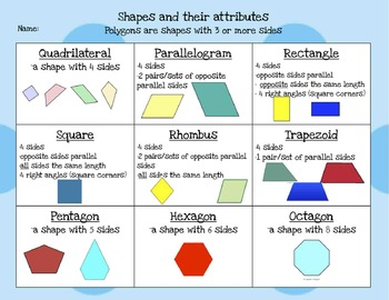 Drawing and identifying shapes and their attributes