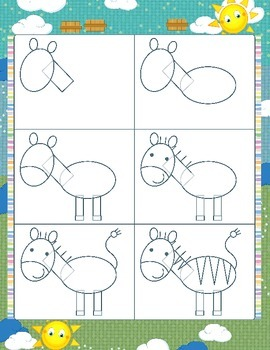 Drawing animals - step by step instruction cards