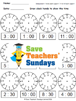 Drawing Clock Hands Lesson Plans, Worksheets and More - CCSS 1.MD.3 and 2.MD.7