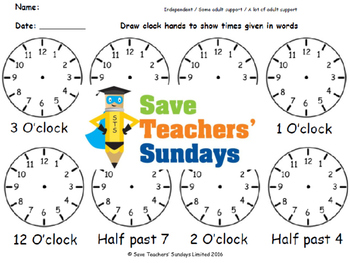 Drawing clock hands (time in words) lesson plans, workshee