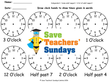 Drawing Clock Hands (Time in Words) Worksheets (4 levels of difficulty)