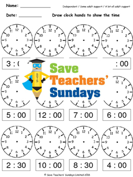 Drawing Clock Hands Worksheets (4 levels of difficulty) - CCSS 1.MD.3 and 2.MD.7