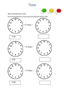 Drawing Hands On Clock Writing A Time Half An Hour After By Thesub
