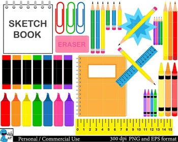 Drawing supplies Digital Clip Art Graphics 55 images cod90