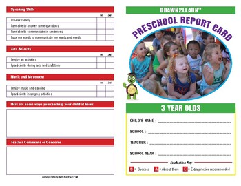 Drawn2Learn 3 Year Old Report Card