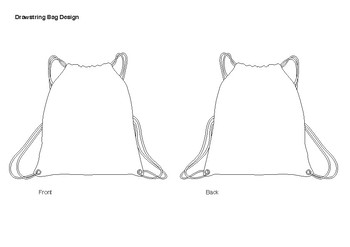 "Drawstring Bag Design Template A4 size (210mm x 297mm) or 8.26"" x 11.69"""