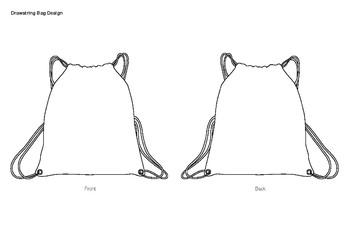 "Drawstring Bag Design Template - A3 paper size or Tabloid/Ledger (11"" x 17″)"