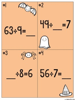 """Halloween """"Dreadful Division"""" Task Cards and Multi-Step Word Problems"""
