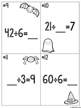 "Halloween ""Dreadful Division"" Task Cards and Multi-Step Word Problems"