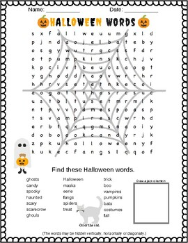 Dreadfully scary - I mean fun - Halloween Word Search Puzzle (Grades 2,3 &4)