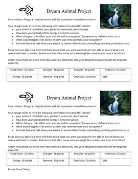 Dream Animal-Ecosystems and Adaptations Project