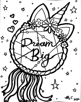 Dream Big Dreamcatcher Coloring Sheet