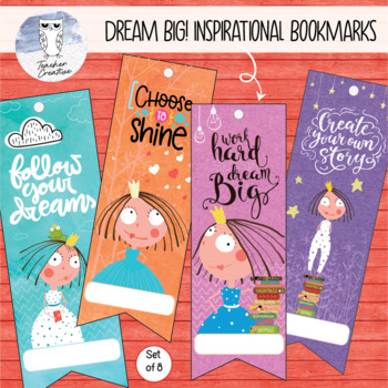 Dream Big! Inspirational Printable Bookmarks (Set of 8)