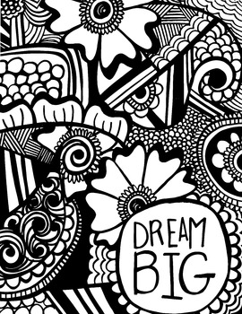 Dream Big Poster / Graphic / Coloring Page