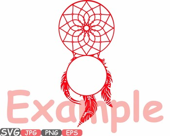 Dream Catcher Circle frame clipart Boho Bohemian Feathers indian Native -500s