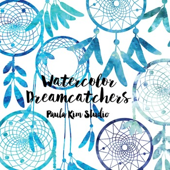 Dream Catcher Silhouette Clip Art, Blue Watercolor