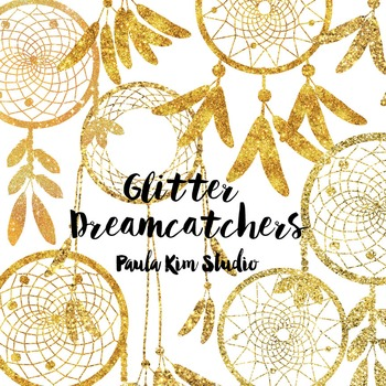 Dream Catcher Silhouette Clip Art, Gold Glitter