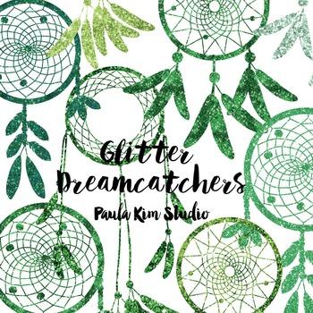 Dream Catcher Silhouette Clip Art, Green Glitter