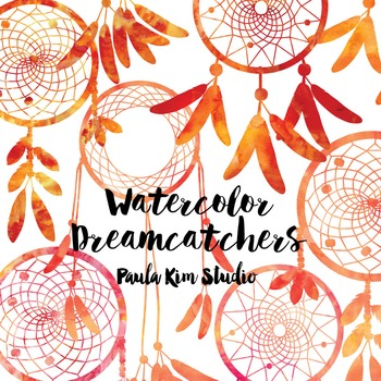 Dream Catcher Silhouette Clip Art, Orange Watercolor