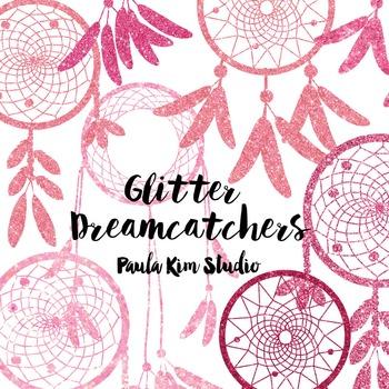 Dream Catcher Silhouette Clip Art, Pink Glitter