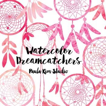 Dream Catcher Silhouette Clip Art, Pink Watercolor