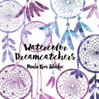 Dream Catcher Silhouette Clip Art, Purple Watercolor