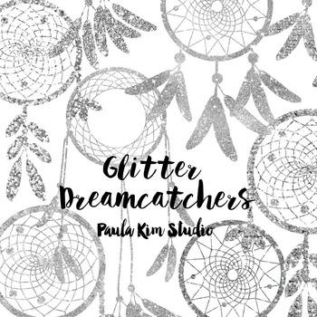 Dream Catcher Silhouette Clip Art, Silver Glitter