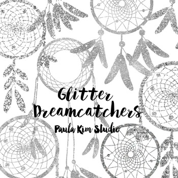 Dream Catcher Silhouette Clip Art, Silver Glitter