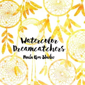 Dream Catcher Silhouette Clip Art, Yellow Watercolor