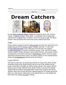 Dream Catcher Worksheet Dream Catchers Worksheet by ART STAR Teachers Pay Teachers 25