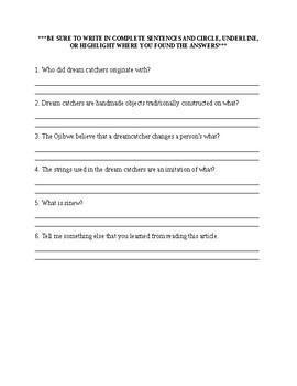 Dream Catchers Worksheet