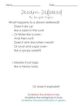 Dream Deferred by Langston Hughes Close Read Poem