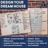 Dream House Design Project EDITABLE Math Grades 6-10