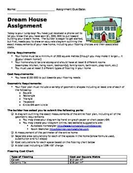 Dream House Math Assignment
