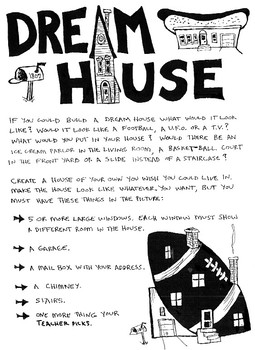 Create A Dream House Printable Drawing Project