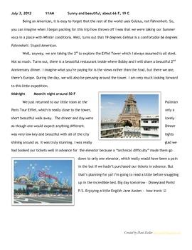 Dream Summer Vacation Narrative Writing