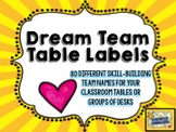"""Table Label Signs!  80 skill-building """"team names"""" for tables / desks!"""