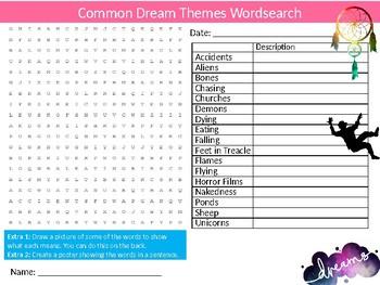 Dream Themes Wordsearch Sheet Starter Activity Keywords Psychology MInd