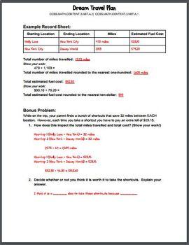 Dream Travel Plan - Mini Project for 3rd Grade Math Enrichment