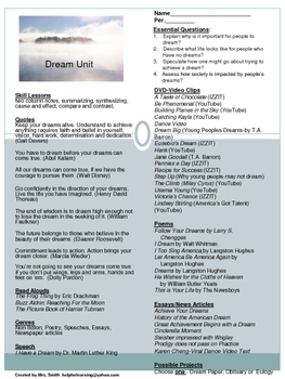 Unit: Dreams: Expository Text and Media