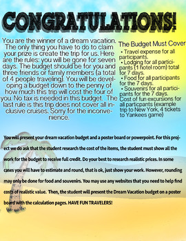 Dream Vacation Budget Project