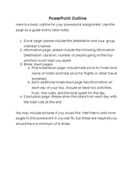 Dream Vacation Planning Outline