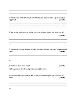 Dreaming Black Boy Poetry Worksheet