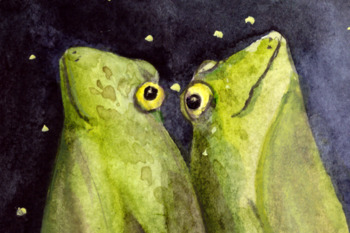 Dreaming Frogs - Watercolor Illustration/Print